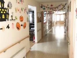 車椅子や歩行器を使用の方も安全に行き来できる広さ。季節を感じられる作品や活動写真を展示しています。